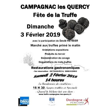 La 9éme Fête de la truffe aura lieu les 02 et 03 Février 2019